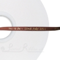 50m roll of Personalised Custom Printed 7mm wide BROWN double faced Satin Ribbon - Silver or Gold print colour