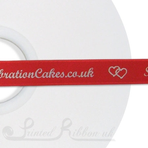 PR15BRED50M BRIGHT RED 15mm Personalised Printed Satin Ribbon - 50m Roll