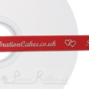 50M Roll of Personalised bespoke printed 15mm wide BRIGHT RED Double Faced (d/f) Satin Printed Ribbon - Choose your print colour