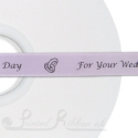 50M Roll of Personalised lilac bespoke printed 15mm wide LILAC Double Faced (d/f) Satin Printed Ribbon - Choose your print colour
