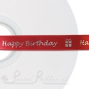 50M Roll of Personalised Custom Printed 15mm Wide RED Double Faced (d/f) satin ribbon - choose your print colour