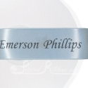 50m roll of Personalised, Printed 38mm wide LIGHT BLUE double faced (d/f) Satin Ribbon