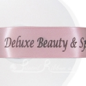 50m roll of Personalised, Printed 38mm wide LIGHT PINK double faced (d/f) Satin Ribbon