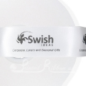 50m roll of Personalised, Printed 38mm wide WHITE double faced (d/f) Satin Ribbon