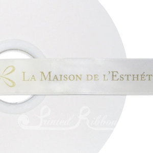 PR25WHTE50M WHITE 25mm Personalised Printed Satin Ribbon - 50m Roll