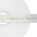 50m Roll of Personalised, Custom Printed 25mm Wide WHITE Double Faced Satin Ribbon - choose your print colour