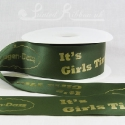 50m roll of Personalised, Printed 50mm wide SAGE GREEN double faced (d/f) Satin Ribbon