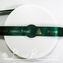 25mm Green Printed satin Christmas ribbon, 50m roll
