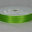 7mm Bright lime green plain satin ribbon