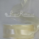 38mm Ivory Organza satin stripe ribbon