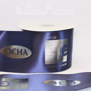PR100NAVY50M 50m roll of personalised, printed 100mm wide NAVY BLUE Single faced (s/f) satin ribbon