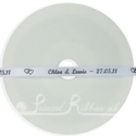 7mm White printed wedding ribbon 25m
