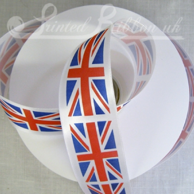 PP35UJACK50M 35mm Union Jack Printed Ribbon, 50 metre roll, SPECIAL PRICE!