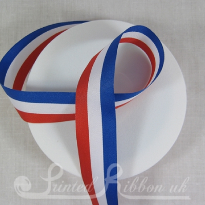 PP25RWBS25M 25mm Red, White & Blue Stripe Ribbon for Jubilee - 25m roll