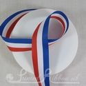 25mm Red, White & Blue Stripe Ribbon for Jubilee and Olympics - British colours