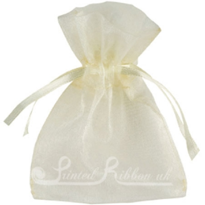 OPSMLIVRY10 Small IVORY organza pouch for wedding favours, Pack of 10
