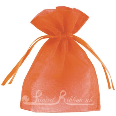 OPSMLORNG10 Small ORANGE organza pouch for wedding favours, Pack of 10