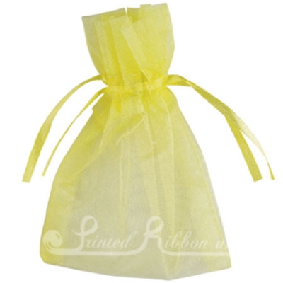 OPSMLYLLW10 Small YELLOW organza pouch for wedding favours, Pack of 10