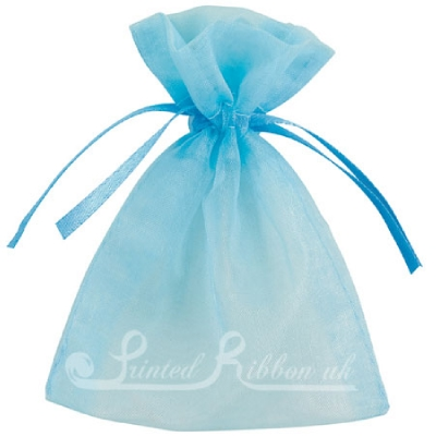OPSMLLBLU10 Small LIGHT BLUE organza pouch for wedding favours, Pack of 10
