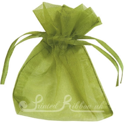 OPSMLOGRN10 Small OLIVE GREEN organza pouch for wedding favours, Pack of 10