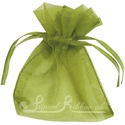 Olive green organza pouch for wedding favours