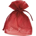 Burgundy organza pouch for wedding favours