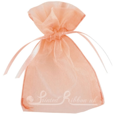 OPSMLPECH10 Small PEACH organza pouch for wedding favours, Pack of 10