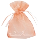 Peach organza pouch for wedding favours