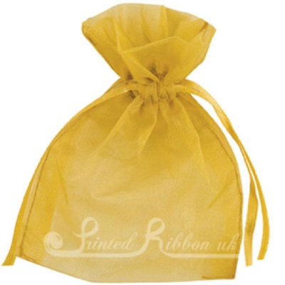 OPSMLGOLD10 Small GOLD organza pouch for wedding favours, Pack of 10