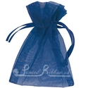Navy blue organza pouch for wedding favours