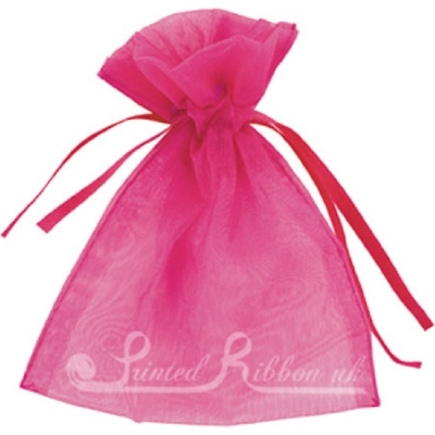 OPSMLFUCH10 Small FUCHSIA PINK organza pouch for wedding favours, Pack of 10