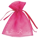 Fuchsia pink organza pouch for wedding favours