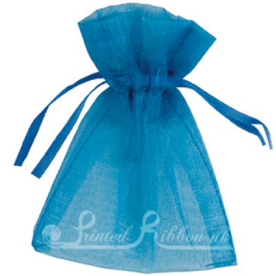 OPSMLMBLU10 Small MID BLUE organza pouch for wedding favours, Pack of 10