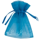 Mid Blue organza pouch for wedding favours
