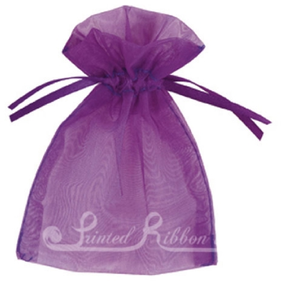 OPSMLPURP10 Small PURPLE organza pouch for wedding favours, Pack of 10