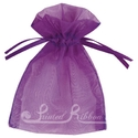 Purple organza pouch for wedding favours