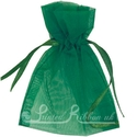 Emerald green organza pouch for wedding favours