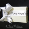 15mm White Personalised Valentine's Day ribbon by Printed Ribbon UK