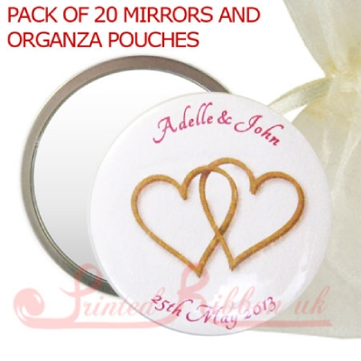 MIRRORGHEARTLOGO20 Personalised Mirror with GOLD HEARTS in organza pouch - wedding favour gift. Pack of 20