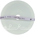 7mm Lilac personalised wedding ribbon 25m