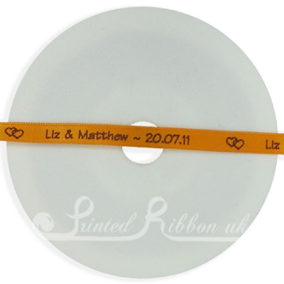 PW7ORNG25M ORANGE 7mm Personalised Printed wedding ribbon - 25m roll