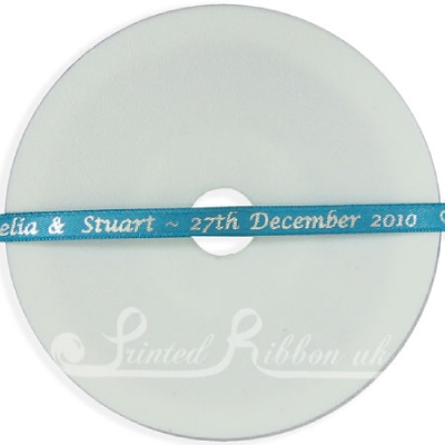 PW7TURQ25M TURQUOISE 7mm Personalised Printed wedding ribbon - 25m roll 7mm Personalised Printed wedding ribbon - 25m roll