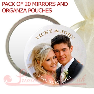 MIRRORPHOTOWED Personalised Photo Mirror in organza pouch - wedding favour gift.  Pack of 20