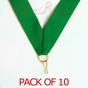 MEDALRIBGREEN10pk GREEN Medal ribbon with ring & clip - Pack of 10