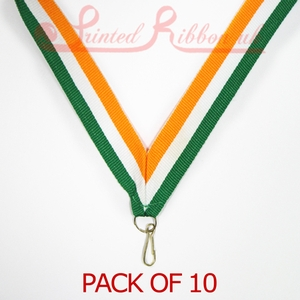 MEDALRIBS_GWO10pk STRIPED GREEN, WHITE, ORANGE Medal ribbon with ring & clip - Pack of 10