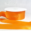 50mm Orange, printed ribbon 50m roll bespoke personalised printed satin ribbon
