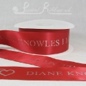 50mm CARDINAL RED custom printed bespoke personalised double faced satin ribbon 50m roll cheap price