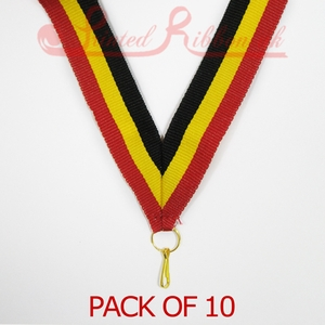MEDALRIBS_RYB10pk STRIPED RED, YELLOW, BLACK Medal ribbon with ring & clip - Pack of 10