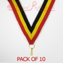 Striped Red, Yellow, Black Medal ribbon pack of 10