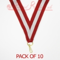 Striped Red, White, Red Medal ribbon pack of 10